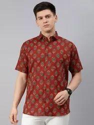 Collar Neck Casual Wear Millennial Men Red Cotton Short Sleeves Shirts For Men