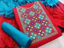 Aara Enterprises Multicolor Slub Cotton Dress Material