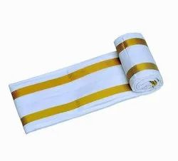 White And Gold Plain Handloom Cotton Gamcha, Rectangle, Size: 30x60 Inch