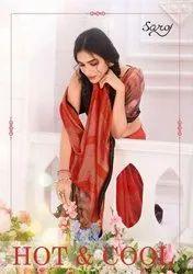 Saroj Textiles Hot And Cool Brasso Satin Patta With Swarovski Work On Border Fancy Saree Catalog