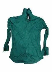 Collar Neck Mens Green Plain Cotton Shirt, Machine wash