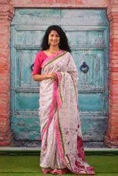 Ilena Block Prints Jaipur Cotton Saree Rani Pink, With Blouse Piece, 5.5 M (separate Blouse Piece)