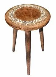 Popular Multipurpose Antique Bed Side Stool/side Table (natural Finish, Round)