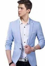 Darbar In Plain Mens Sky Blue Casual Wear Blazer