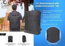 S06 Slimz Black Backpack With Double Front Pocket