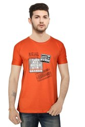 Round Half Sleeve Orange Cotton T Shirt