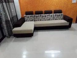 White, Dark Brown Stainless Steel Modern Corner Sofa Set, 5 Inch, Tight Back
