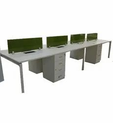 Open Desking Office Workstation With Glass Screen Cubicles
