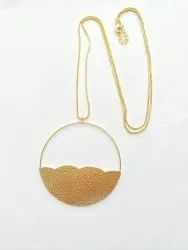 Brass Golden Round Pendant With Chain