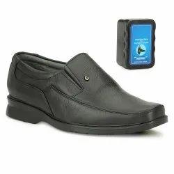 Tlizrok Black Mens Mild Leather Slip On Shoes, Size: 6
