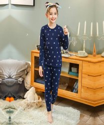 Cotton Blend and Denim Girls Full Sleeve Regular Blue Night Suit