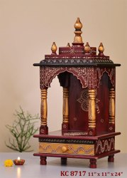 Nirmala Handicrafts Teak Wood Temple Cabinate Pooja Mandir Multicolored Handwork Home Temple