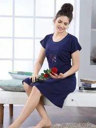 Short Length Cotton Women comfortable nightwear dress, 16-55