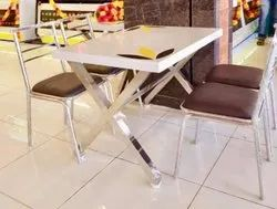 white Restaurant tables & chair., Seating Capacity: 4 Seater