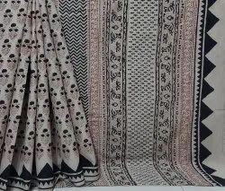 Natural Bagru Dabu Hand Block Printed Cotton Saree With Blouse Piece