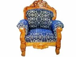 Brown, Blue Antique Wooden Sofa Chair, For Home