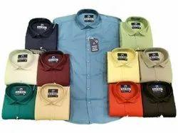 Blue Army Collar Neck Men Cotton Full Sleeves Plain Casual Shirt, Handwash, Size: M L XL