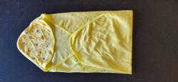 Printed Yellow Baby Hosiery Cotton Towel, 6 Months