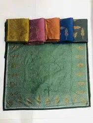 Golden Zari Work Silk Saree