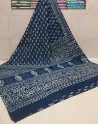 Bagru Dabu Hand Block Printed Cotton Saree.