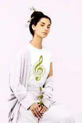 Half Sleeve Round Ladies Printed Cotton T-Shirt, Size: XS