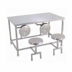 Polished Stainless Steel Canteen Dining Table, For Hotel, Size: 48