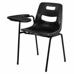 Stainless Steel Students Writing Arm Chair With Wooden Seat