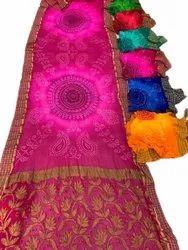 Wedding Wear Ladies Magenta Zari Border Chiffon Saree, 5.5 m