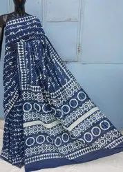 Exclusive Natural Bagru Dabu Hand Block Printed Cotton Saree.