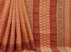 Natural Bagru Dabu Hand Block Printed Cotton Saree.