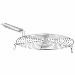 1 Piece Round Stainless Steel Roaster With Handle, Silver, For Home