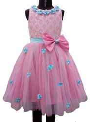 Pink Floral Party Wear Frock