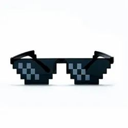 Thug Life Cool Unisex Sunglass With Polygonal 8 Bits Style Pixel (Black Lens) Without Rim