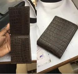 Male Bifold croco printed leather wallet