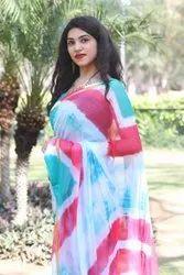 Primium Hand Block Printed Chiffon Sarees With Zari With Silk Border Blouse Including Saree
