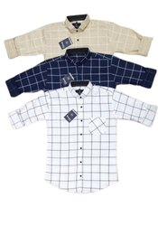 Checks Collar Neck Mens Designer Checked Cotton Shirts, Handwash
