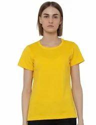 Half Sleeve Round Ladies Yellow T Shirt