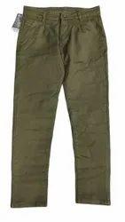 Olive Green Men Plain Cotton Pant, Waist Size: 34