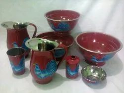 Stainless Steel Printed Dinner Set, For Home, 7 Pc