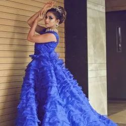 Party Wear Blue Ruffle  Evening Gown, Size: S,M