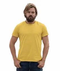 Half Sleeve Cotton Mens Yellow Round Neck T Shirt