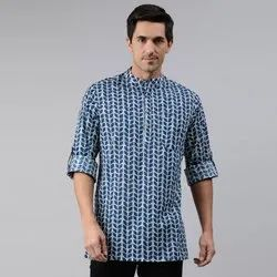 Janasya Men's Blue Cotton Kurta(MEN5008)
