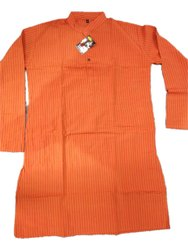 Casual Mens Orange Cotton Kurta