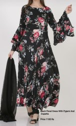 Black Floral Dress with Pyjami & Dupatta