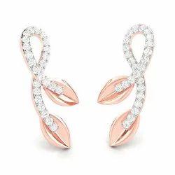 Party Wear Round 14 Kt Ladies Diamond Earrings
