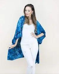 Blue Rayon Kimono Robe, Size: Free
