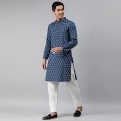 Janasya Men's Blue Cotton Kurta(MEN5032)