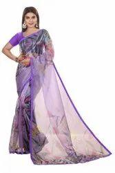 Addpin Enterprise Party Wear Ladies Purple Printed Organza Saree, 6.3 M (With Blouse Piece)