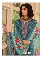 Azara Afrozeh Cambric Cotton Print With Embroidery Dress Material Catalog