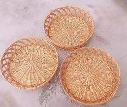 Brown Cana Round Straw Basket